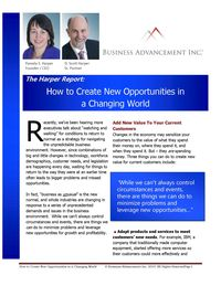 how to create new opportunities - Harper Report